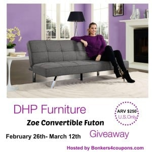 DHP Zoe Convertible Futon Giveaway