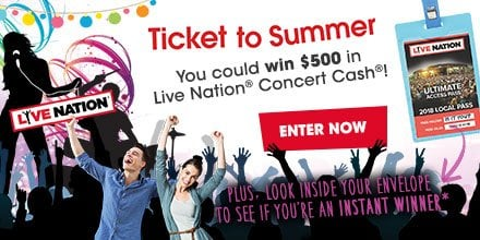 Enter to win Live Nation Concerts Near Me 2017 Cash!
